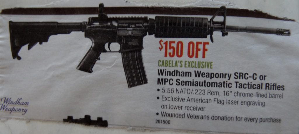 Found this Advertisement in a Magazine for 'Sporting Goods' in Montana. Description Clearly Indicates this Weapon is NOT for Hunting but an Assault Rifle. Now note the Last Line in the Specs... Am I the only one Finding that Somehow Ironic and almost Sadistic...?