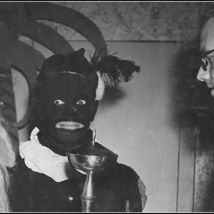 Sinterklaas en Zwarte Piet Speak with the Mayor (Mid- 20th Century)