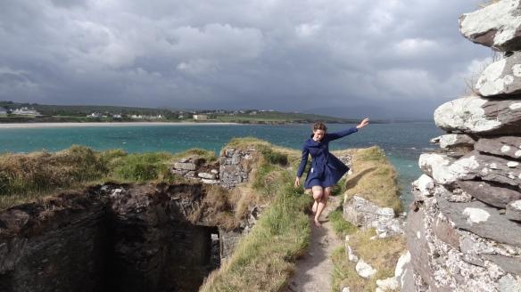 Linda Atop the Ruin at Ballinskelligs