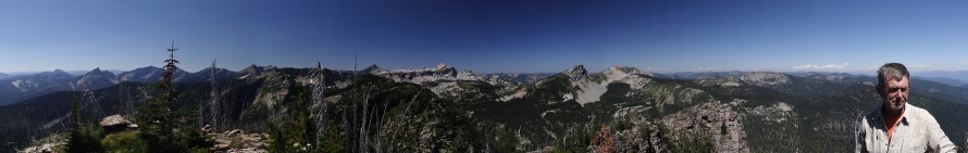 Panorama of the Cabinets from Spar Peak, with Sandy Compton
