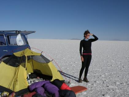 Waking up on Uyuni Salt Flats, Bolivia
